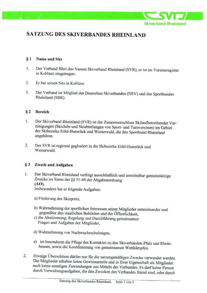Satzung Skiverband Rheinland e.V.