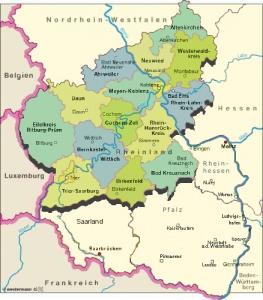 Landkarte für das Rheinland in Deutschland